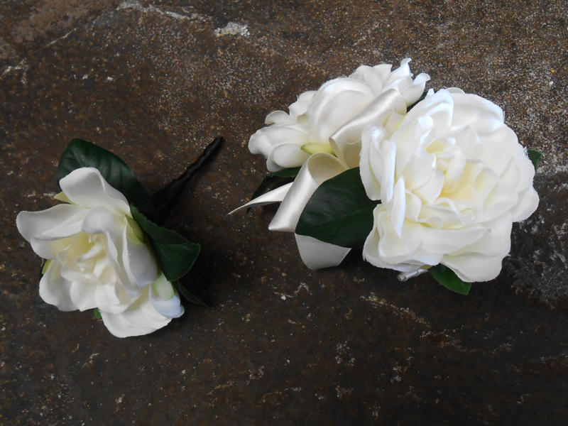 Gardenia corsage and boutonniere