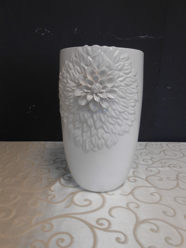 White ceramic flower vase