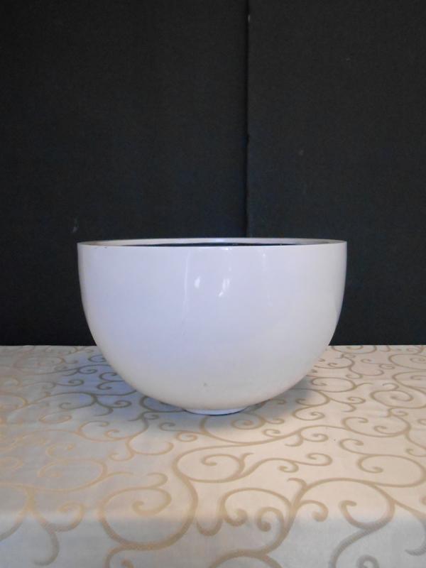 White fiberglass round bowl