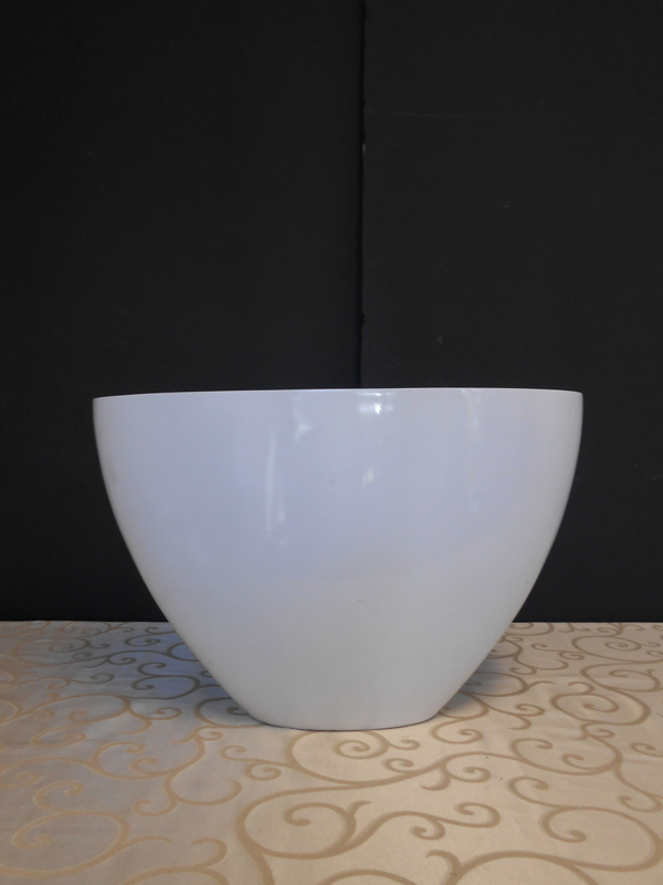 White fiberglass oval bowl
