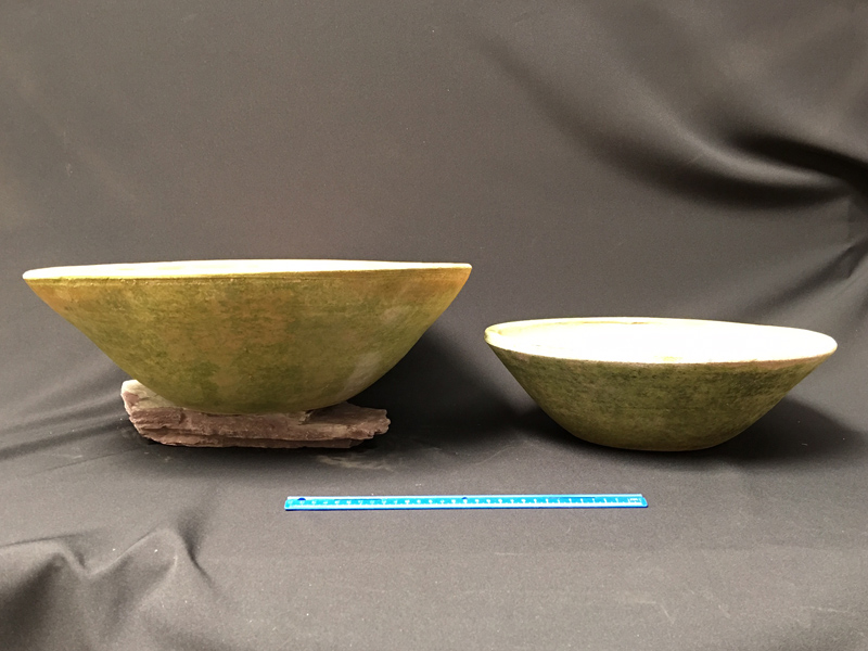 Pale aged terracotta bowls