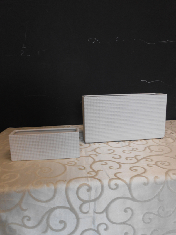White ceramic rectangle vase