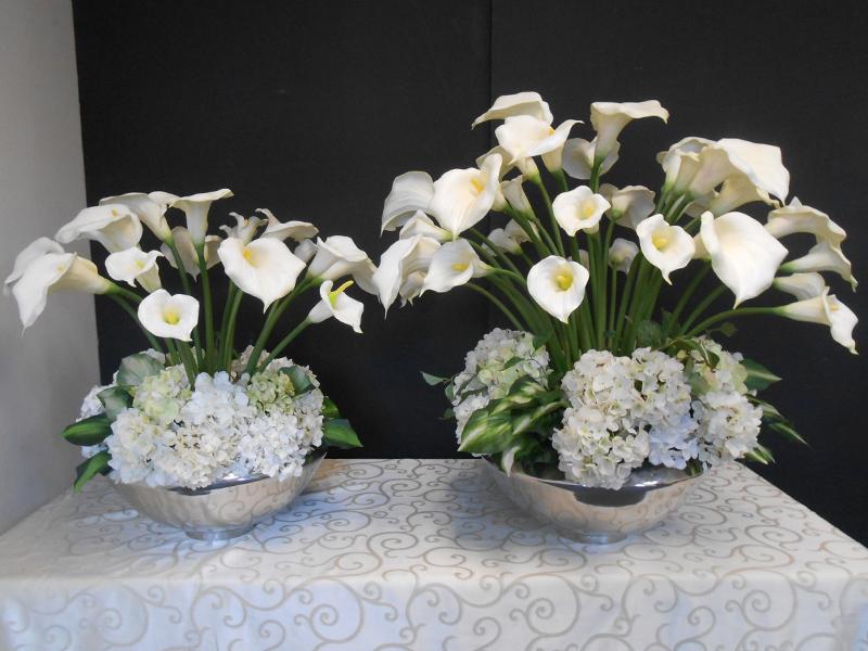 Callas and hydrangea