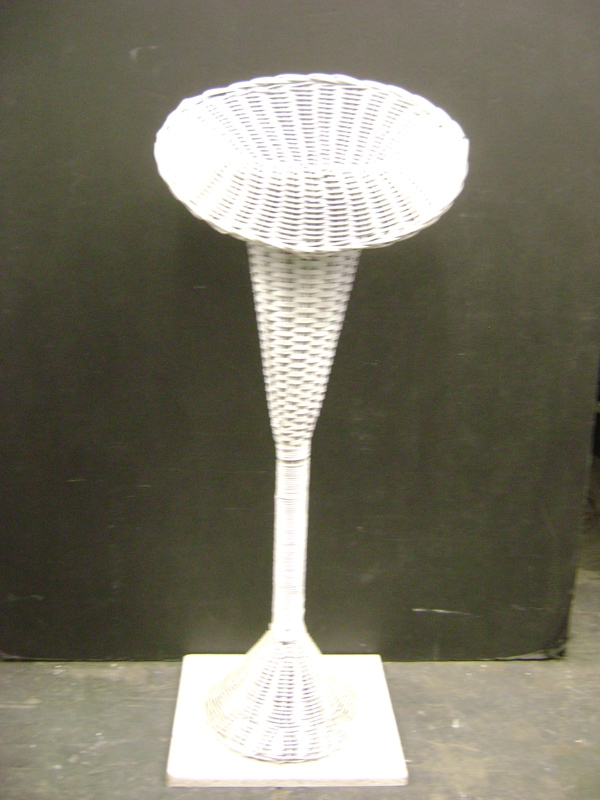 White wicker pedestal