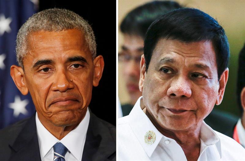 Tổng thống Hoa KỳBarack Obama và tổng thống Phi Luật Tân Rodrigo Duterte. Nguồn internet.
