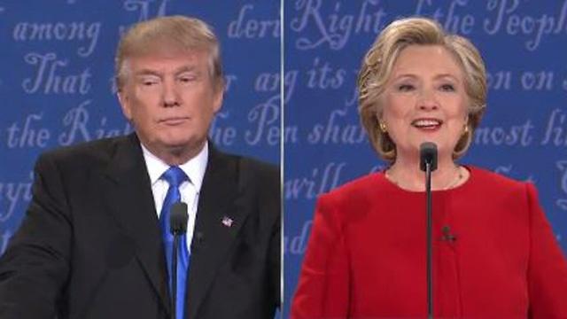 Hai ứng cử viên tổng thống tại Hoa Kỳ, Donald Trump và Hillary Clinton trong buổi tranh luận cuối cùng. Nguồn internet.