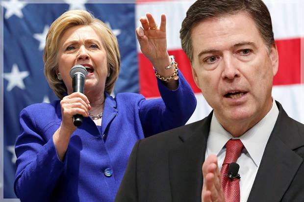 Hillary Clinton và James Comey giám đốc cơ quan tình báo FBI. Nguồn internet.