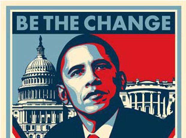 """Tổng thống Obama đắc củ nhờ khẩu hiệu """"Thay Đổi"""". Nguồn internet."""