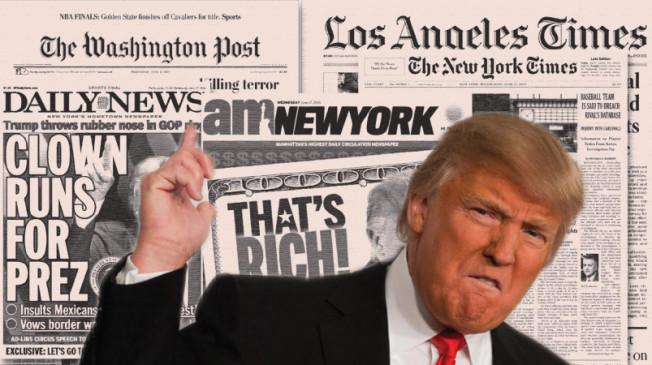 """Trump viết trên twitter rằng. """"Truyền thông tin giả (NYT, NBC, ABC, CBS, CNN) không phải là kẻ thù của tôi, mà là kẻ thù của dân chúng Mỹ """". Nguồn internet."""