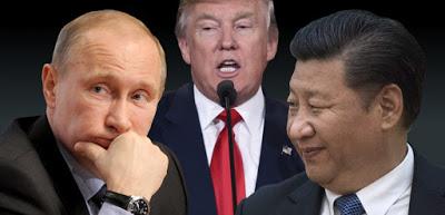 Các tổng thống Nga, Hoa Ky, và Trung Quốc : Putin, Trump, Tập Cận Bình. Nguồn internet.
