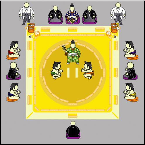 Sàn đấu sumo nhìn từ trên