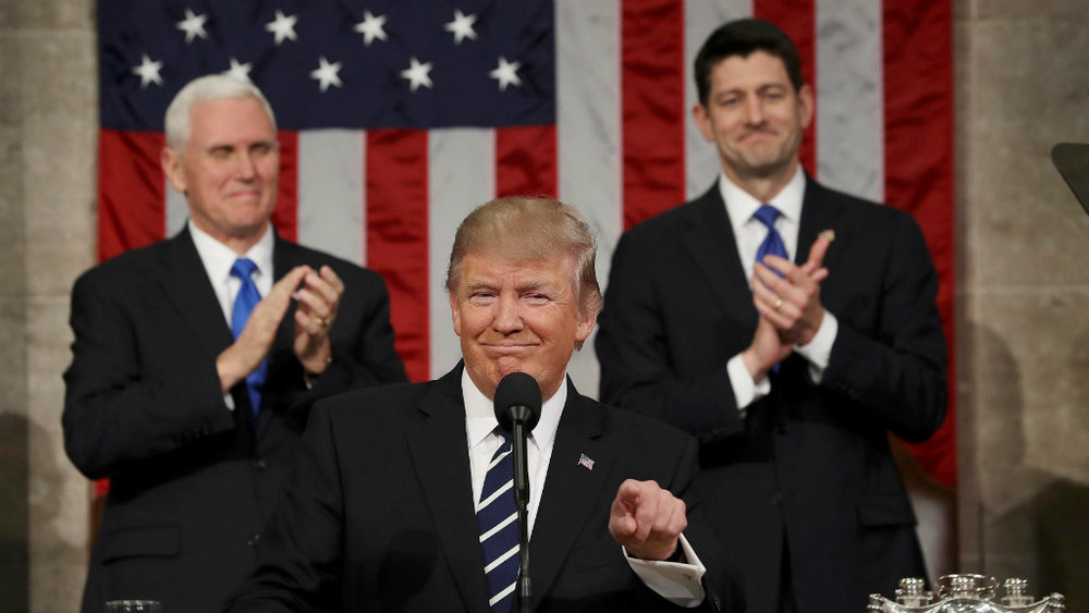 TT Trump đọc báo cáo hàng năm về tình hình liên bang trước lưỡng viện quốc hội Hoa Kỳ. Nguồn internet.