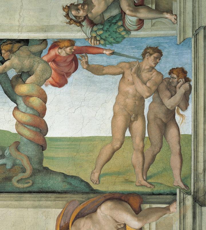 Hình trên trần nhà thờ Sistine ở Vatican với con rắn, Adam và Eva là trường hợp mà đức Giáo hoàng coi là tin giả đầu tiên. (nguồn Internet)