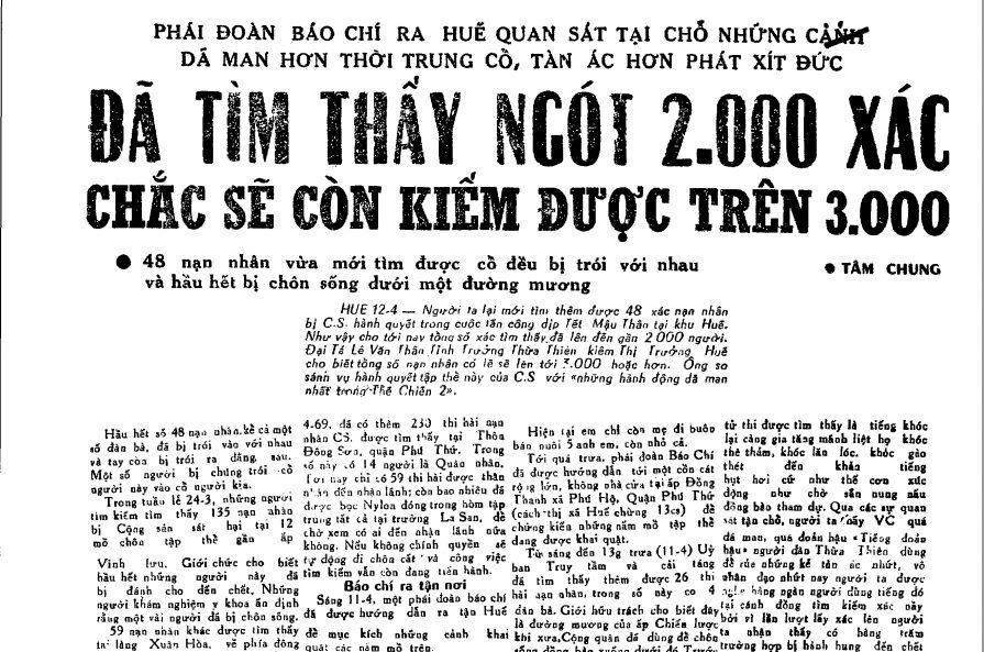 Báo chí miền Nam đăng tin về trên 2000 người dân Huế vị VC thảm sát trong Tết Mậu Thân. Nguồn internet.