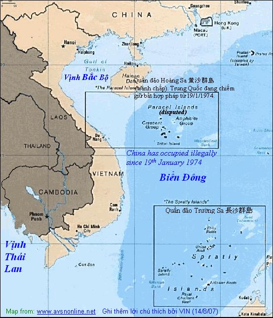 Vị trí của hai quần đảo Hoàng Sa và Trường Sa của Việt Nam. Nguồn internet.