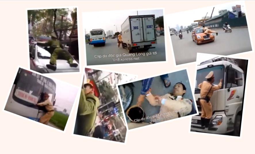 Công an VC chặn xe dân, bị xe dân húc. nguồn Facebook. Lê Thái Hùng.