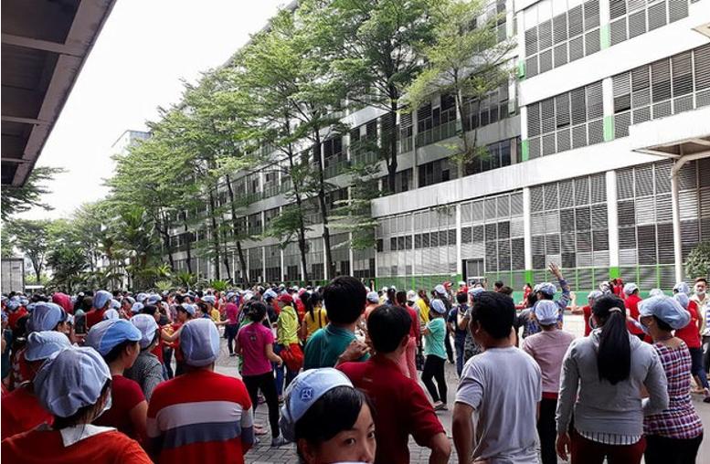 Công nhân công ty Pouyuen VietNam tại khu Công nghiệp Tân Tạo biểu tình vào ngày 9/6/2018                                                                    Courtesy JB Nguyễn Hưu Vinh