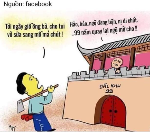Hình châm biếm Việt Cộng biến thái bán nước cho Tầu cộng. Hình lấy từ Facebook.