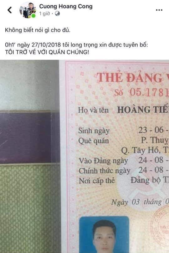 Kỹ Sư Hoàng Tiến Cường. Nguồn FB Đinh Văn Hải.