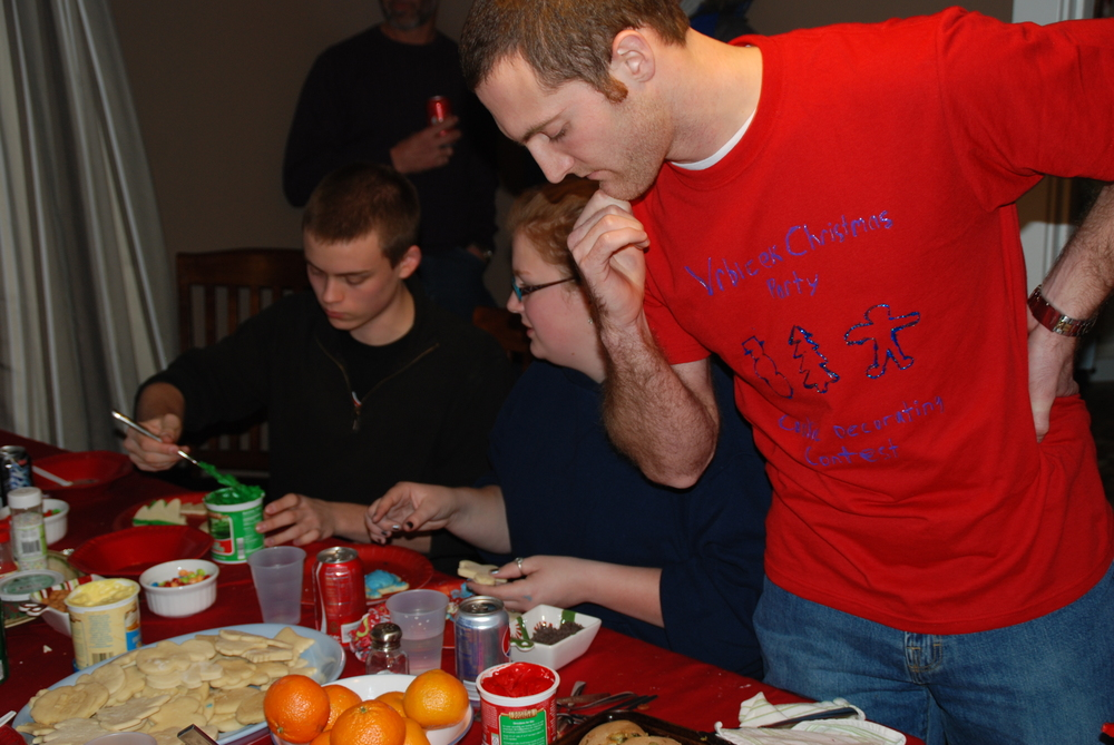 Brycen at our Annual Christmas party. Notice the shirt he made for the Night!