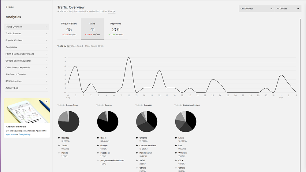 Squarespace Analytic for Traffic Overview - Analytic/Performance Cookie