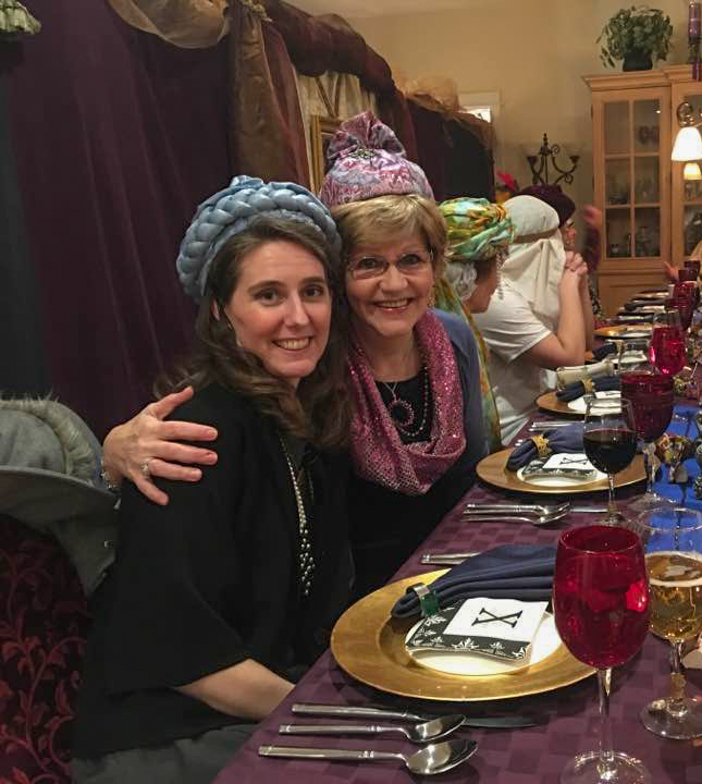 2016: This was taken at a home celebration of Purim. I'm on the left and my friend is on the right.