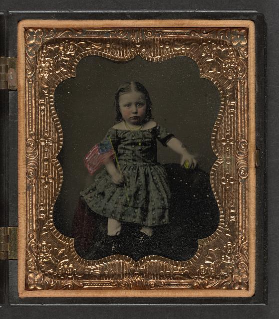 Girl Holding American Flag | Circa 1860