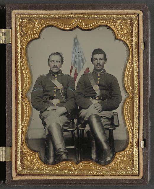 Two Soldiers in Union Uniforms in Front of American Flag | Circa 1861-1865
