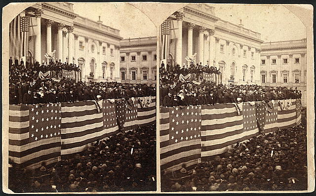 Chief Justic Morrison R. Waite Administering the Oath of Office to Rutherford B. Hayes on a Flag-Draped Inaugural Stand at the US Capitol | Circa 1877