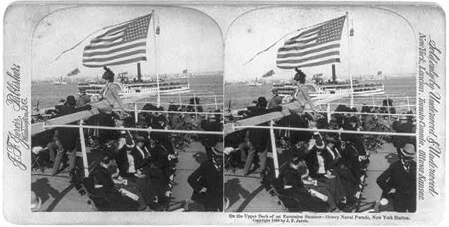 The Upper Deck of an Excursion Steamer Dewey Naval Parade, New York Harbor | Circa 1899