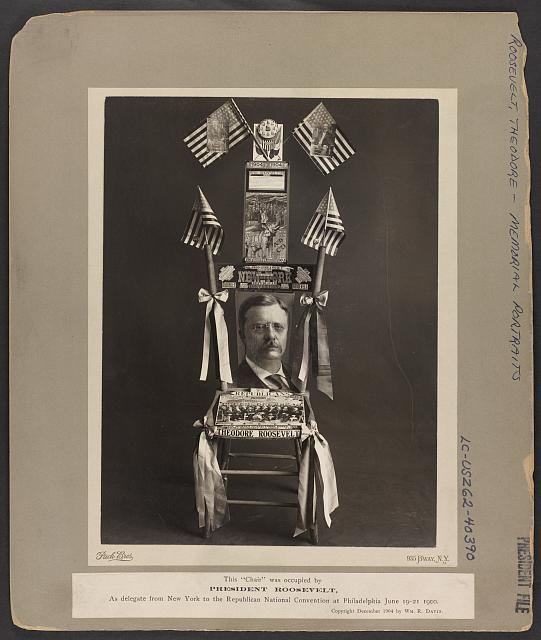 Chair Occupied by Teddy Roosevelt as Delegate from New York at Republican National Convention in 1900