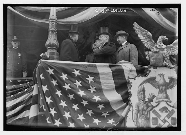 Mayor McClellan and Others on Flag-Bedecked Podium, New York | Circa 1900