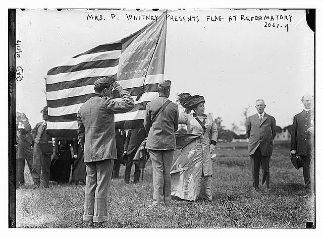 Mrs. P. Whitney Presents Flag at Reformatory | Circa 1900