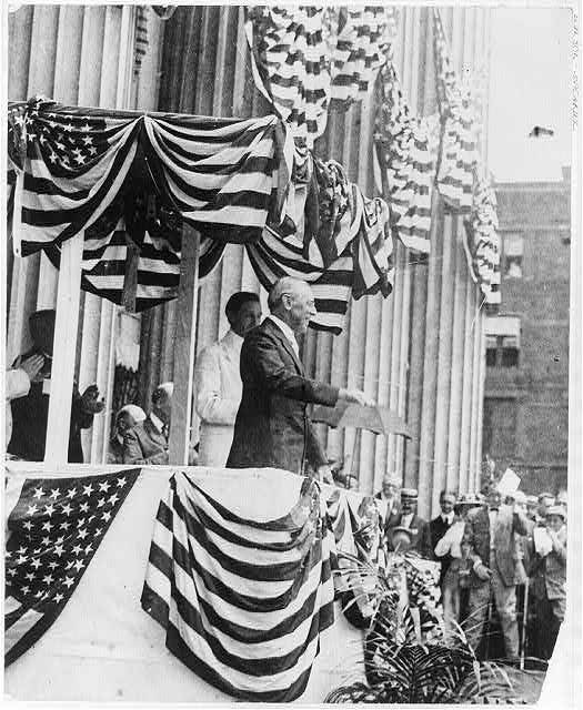 President Woodrow Wilson Speaking Outside of the Treasury Department on Flag Day | Circa 1915