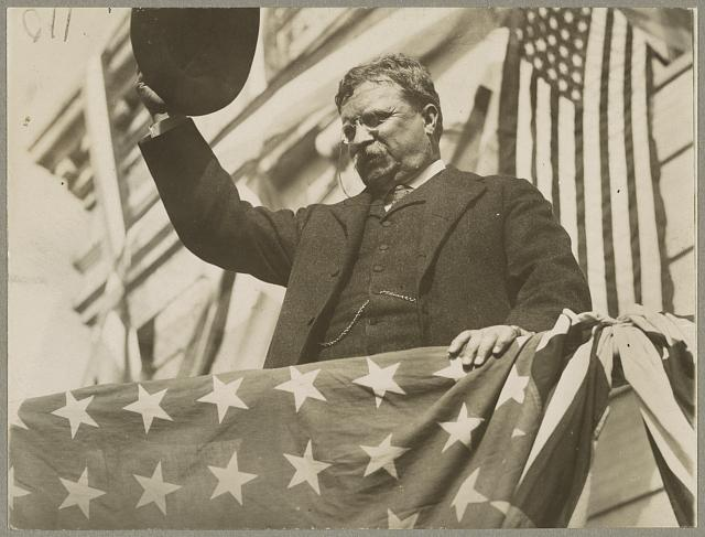 Teddy Roosevelt on His Tour Through New Jersey Before the Convention on a Flag-Draped Platform | Circa 1912