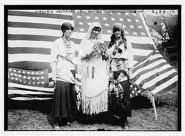 Three Women Dressed as Fortune-Telling Gypsies with American Flags | Circa 1917