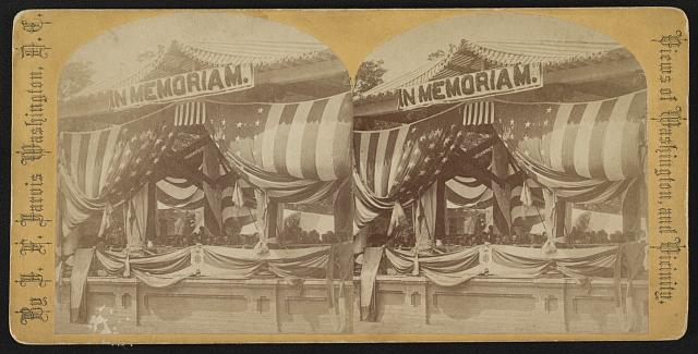 President Grant and General John Logan Seated at a Flag-Draped Reviewing Stand | Circa 1868