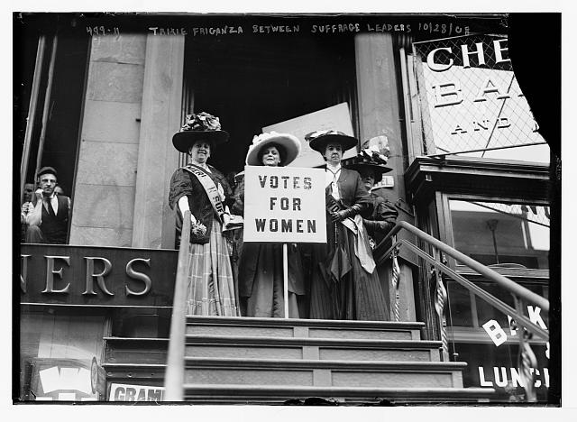 Trixie Friganza Between Other Suffragettes on Top of Steps in New York | Circa 1908