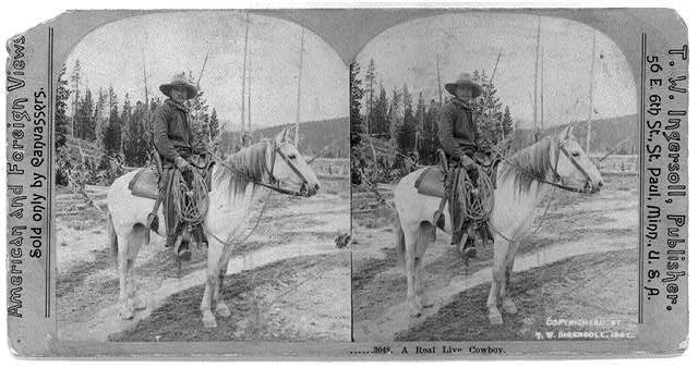 Cowboy on Horseback, Holding Lasso | Circa 1898