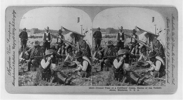 Dinner Time at a Cowboys' Camp in Yellowstone, Montana | Circa 1905
