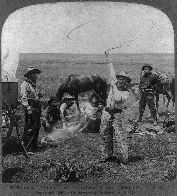 Fancy Roping at a Cowboys' Camp in Oklahoma | Circa 1905