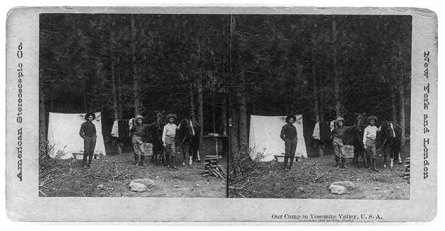 Three Men with Horses and Tent in Yosemite Valley | Circa 1896