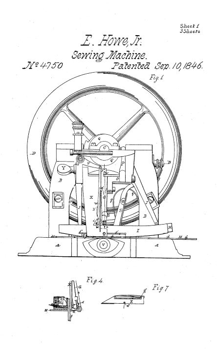 US4,750 | Improvement in Sewing Machines | Circa 1846