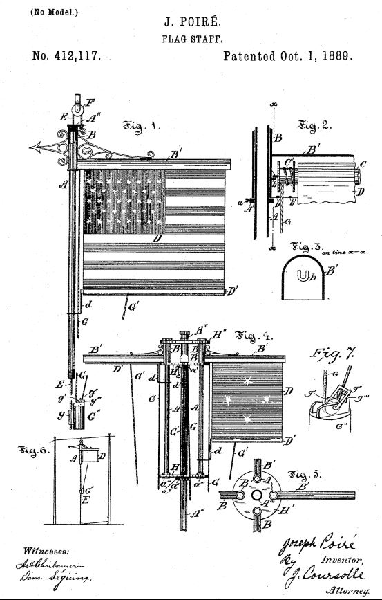 US412,117 | Flag Staff | Circa 1889