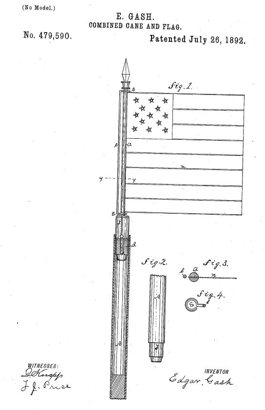 US479,590 | Combined Cane and Flag | Circa 1892