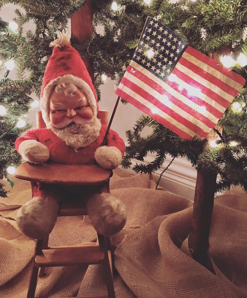 Santa with 45 Star Antique Flag