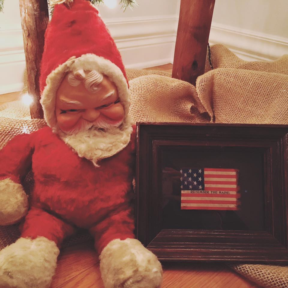 Santa with Antique 13 Star Flag with Remember the Maine Overprint