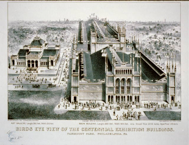 Bird's Eye View of the Centennial Buildings | Circa 1875