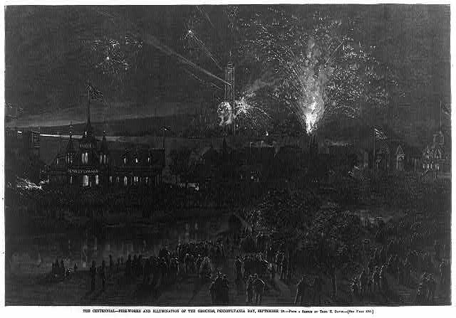 Centennial Fireworks in Philadelphia | Circa 1876