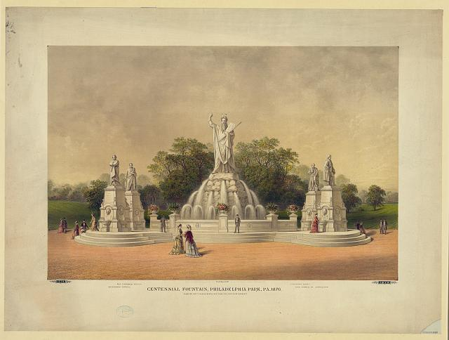 Centennial Fountain in Philadelphia Park | Circa 1876